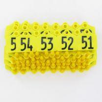Oormerk Primaflex no. 1 genummerd geel serie 50stuks
