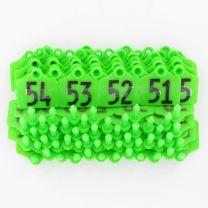 Oormerk Primaflex no. 1 genummerd groen serie 50stuks